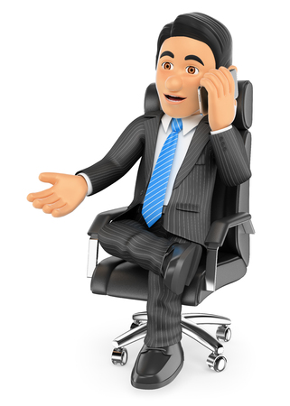 executive: 3d business people. Businessman sitting in his chair speaking by mobile phone. Isolated white background.