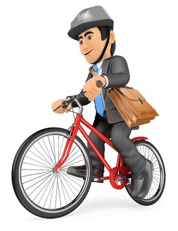 executive helmet: 3d business people. Businessman going to work by bike. Isolated white background.