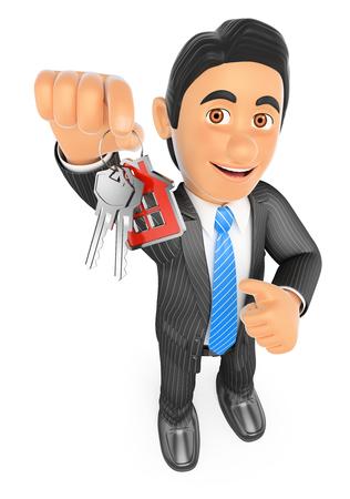 3d mensen uit het bedrijfsleven. Makelaar overhandigen van de sleutels van een nieuw huis. Geïsoleerde witte achtergrond. Stockfoto
