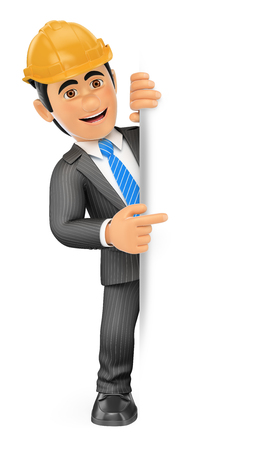 aside: 3d business people. Architect pointing aside. Blank space. Isolated white background.