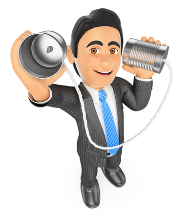 tin can phone: 3d business people. Businessman speaking through a can. Communication concept. Isolated white background.