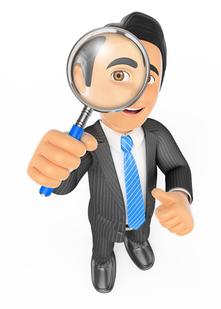 3d business people. Businessman looking through a magnifying glass. Isolated white background.