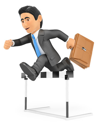 overcoming: 3d business people. Businessman in a hurdle race. Overcoming concept. Isolated white background.