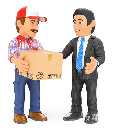 man carrying box: 3d working people. Courier delivery man delivering a package to a businessman. Isolated white background.