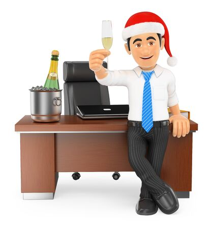 toasting: 3d business people. Businessman toasting Christmas in his office. Isolated white background.