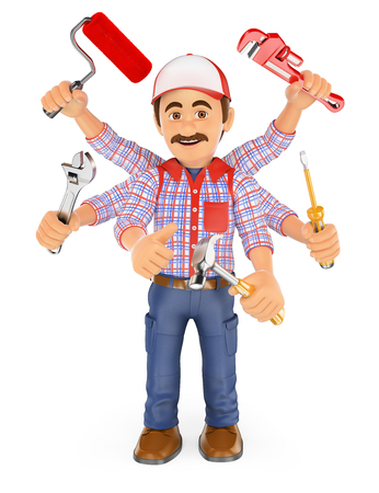 foreman: 3d working people. Handyman multitasking with six arms. Isolated white background.