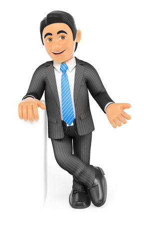 handsome young man: 3d business people. Businessman with crossed legs showing something. Isolated white background.