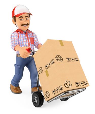 3 d の作業人。宅配便配達人ハンド トラックに箱を押します。孤立した白い背景。