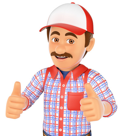 two thumbs up: 3d working people. Handyman with two thumbs up. Isolated white background.