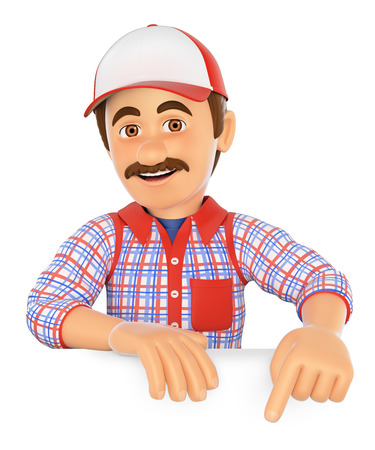 white people: 3d working people. Handyman pointing down. Blank space. Isolated white background.