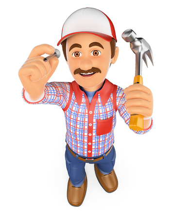 hit man: 3d working people. 3D Handyman hammering a nail with a hammer. Isolated white background.