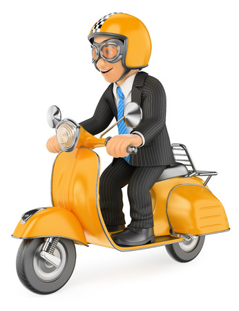 executive helmet: 3d business people. Businessman going to work by scooter motorcycle. Isolated white background.