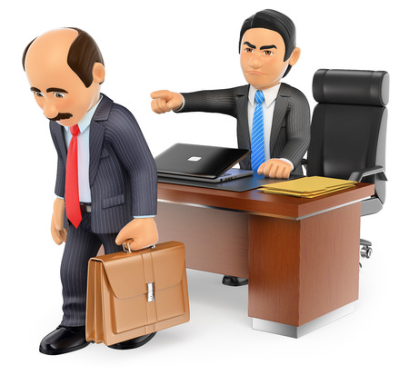unhappy worker: 3d business people. Businessman boss firing an employee at office. Isolated white background. Stock Photo