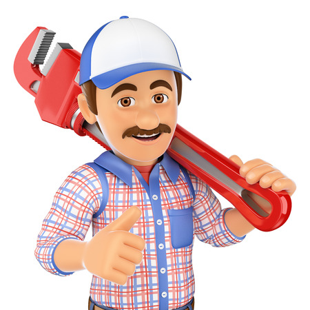 pipe wrench: 3d working people. Plumber with a pipe wrench. Isolated white background. Stock Photo