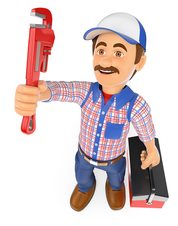 pipe wrench: 3d working people. Plumber with a pipe wrench and a toolbox. Isolated white background.