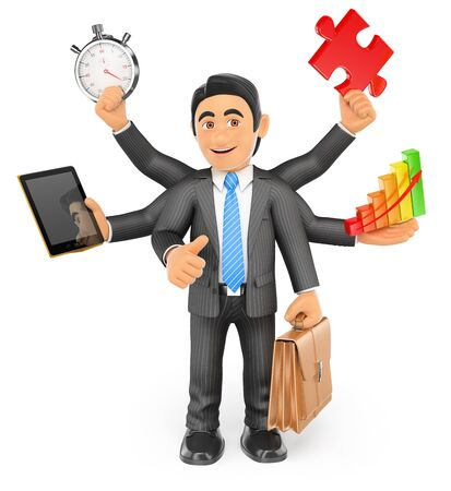 multitasking: 3d business people. Businessman multitasking concept with stopwatch tablet bar graph puzzle piece briefcase and thumb up. Isolated white background. Stock Photo