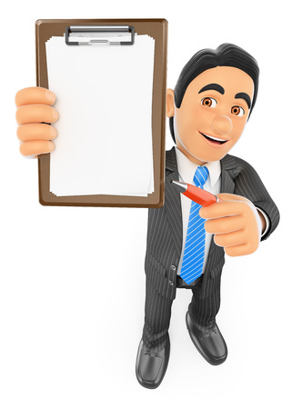 man illustration: 3d business people.  Businessman with blank clipboard and a pen. Isolated white background.