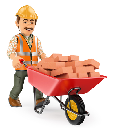 Industrial workers: 3d working people. Construction worker with a wheelbarrow full of bricks. Isolated white background. Stock Photo