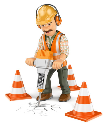 3d working people. Construction worker with a handheld hydraulic breaker. Isolated white background.