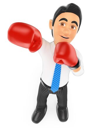 padding: 3d business people. Businessman with boxing gloves. Isolated white background.