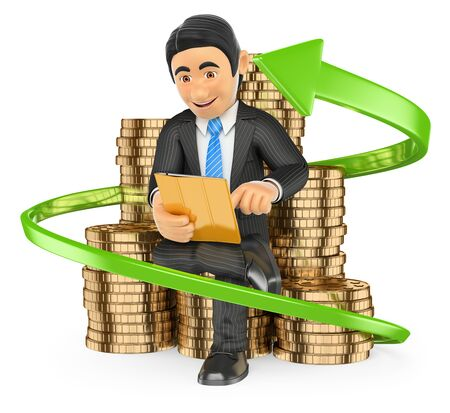 trader: 3d business people. Businessman on a pile of coins buying stocks with his tablet. Trader. Isolated white background. Stock Photo