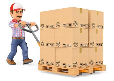3d personnes travaillant. Livraison par courrier homme poussant un camion de palettes avec des boîtes. fond blanc isolé.