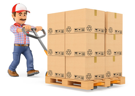 man carrying: 3d working people. Courier delivery man pushing a pallet truck with boxes. Isolated white background.