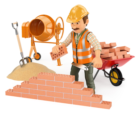 brick and mortar: 3d working people. Construction worker building a brick wall. Isolated white background. Stock Photo