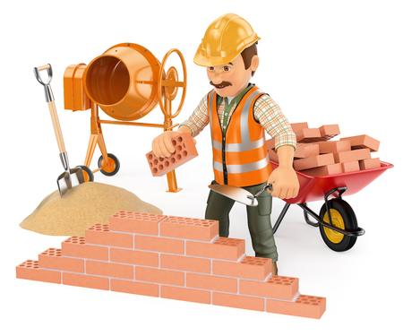 competencias laborales: Personas que trabajan 3d. Trabajador de la construcción la construcción de un muro de ladrillo. Fondo blanco aislado.