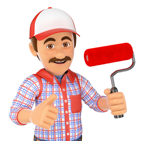 white people: 3d working people. Painter with brush roller and thumb up. Isolated white background.