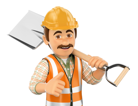 protective: 3d working people. Construction worker with shovel and thumb up. Isolated white background.