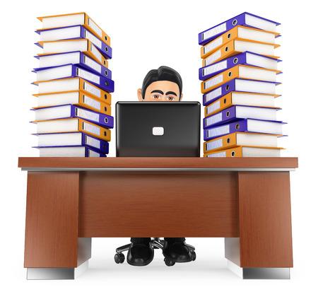 3d people d'affaires. Homme d'affaires dans le bureau avec beaucoup de travail à faire. fond blanc isolé.