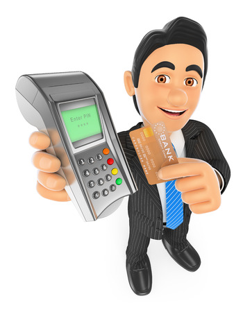 banking concept: 3d business people. Businessman paying with a credit card in a bank terminal. Isolated white background.