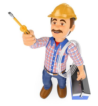 3d ludzi pracy. Elektryk za pomocą śrubokręta i zestaw narzędzi. Pojedyncze białe tło.