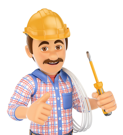 safety equipment: 3d working people. Electrician with a screwdriver and wire. Isolated white background. Stock Photo