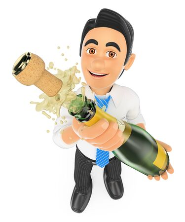 popping cork: 3d business people. Businessman uncorking a bottle of champagne. Isolated white background.