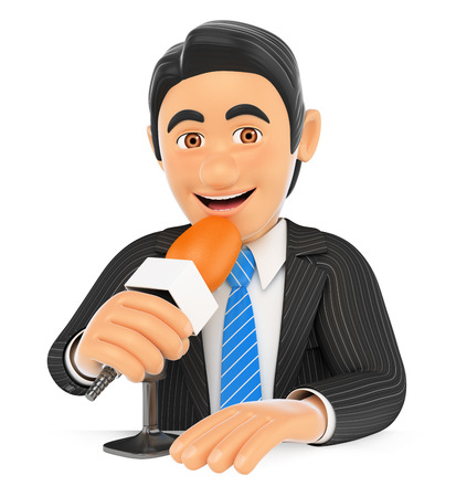 talk show: 3d business people. Reporter talking on a microphone. Isolated white background.