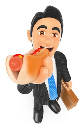 unhealthy food: 3d business people. Businessman eating a hot dog. Isolated white background. Stock Photo