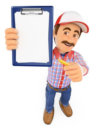 red man: Personas que trabajan 3d. Trabajador con el portapapeles en blanco y un l�piz. Fondo blanco aislado. Foto de archivo
