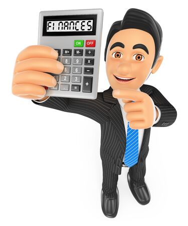 financial advisors: 3d business people. Businessman showing a calculator. Finances concept. Isolated white background. Stock Photo