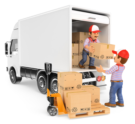 to unload: 3d working people. Workers unloading boxes from a truck. Isolated white background.