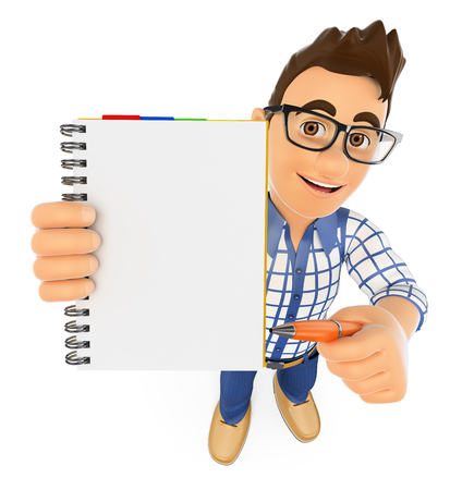 writes: 3d young people. Student with a blank notepad and a pen. Isolated white background. Stock Photo