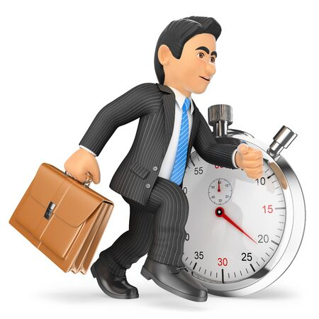 chronograph: 3d business people. Businessman working against stopwatch. Time concept. Isolated white background. Stock Photo