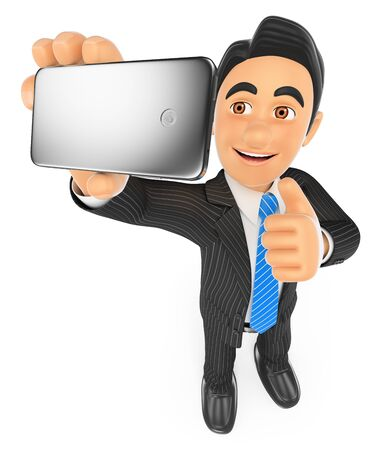 man thumbs up: 3d business people. Businessman taking a selfie with mobile phone. Isolated white background. Stock Photo