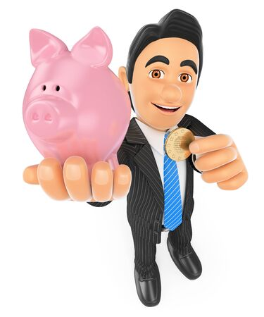 save money: 3d business people. Businessman putting a coin in a piggy bank. Concept of saving. Isolated white background. Stock Photo