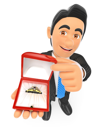 happy woman: 3d business people. Businessman giving an engagement ring. Love concept. Isolated white background. Stock Photo