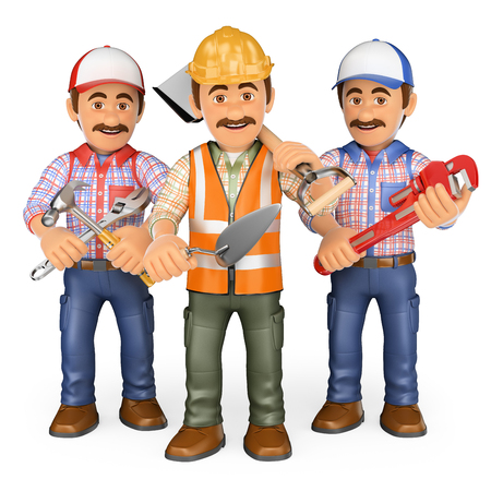 Industrial workers: 3d working people. Workers. Team of work. Isolated white background.
