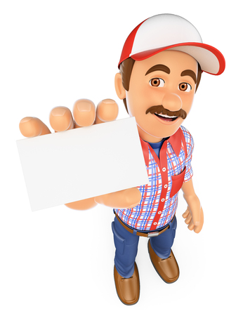 technician: 3d working people. Worker showing a blank card. Isolated white background. Stock Photo