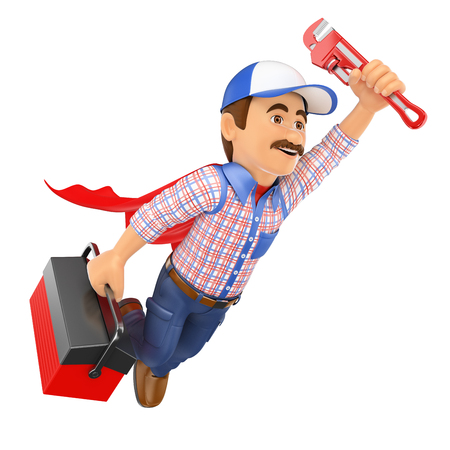 3d working people. Super Plumber flying with toolbox and pipe wrench. Isolated white background.