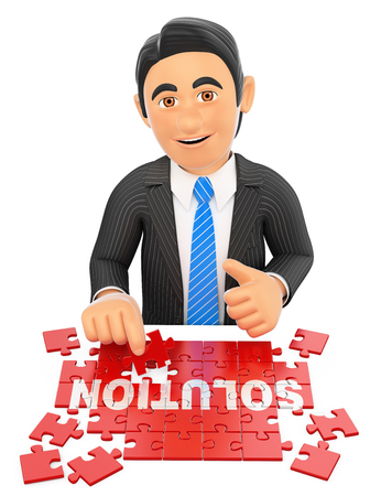 solutions: 3d business people. Businessman solving a puzzle. Solution concept. Isolated white background. Stock Photo